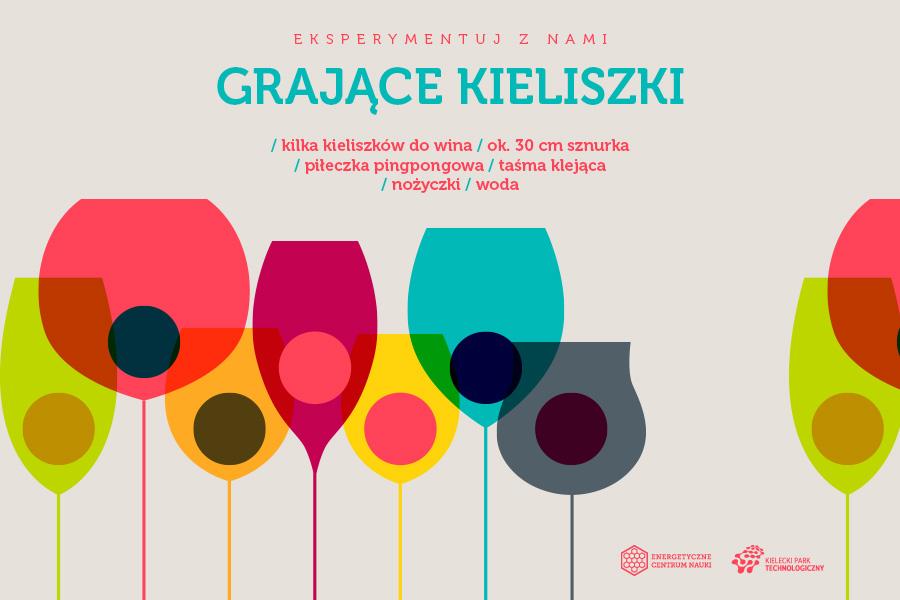 Grające kieliszki, składniki: kilka kieliszków do wina, ok. 30 cm sznurka, piłeczka pingpongowa, taśma klejąca, nożyczki, woda