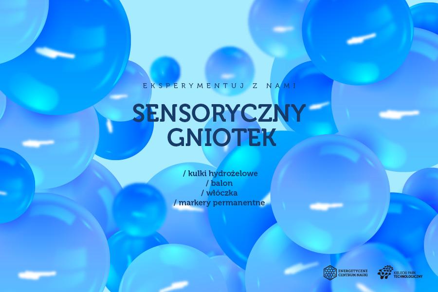 Sensoryczny gniotek, składniki kulki hydrożelowe, balon, włóczka, markery permanentne