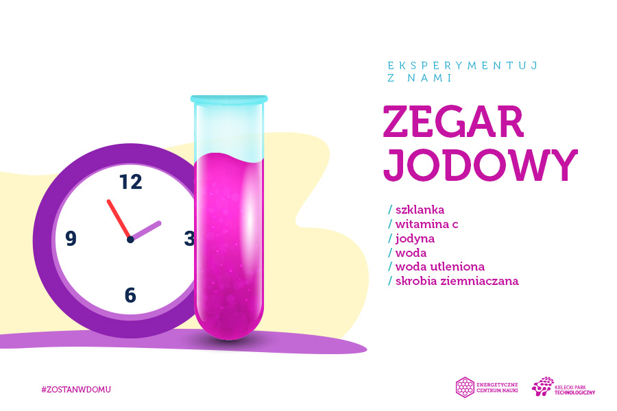 Zegar jodowy, składniki: szklanka, witamina C, jodyna, woda, woda utleniona, skrobia ziemniaczana
