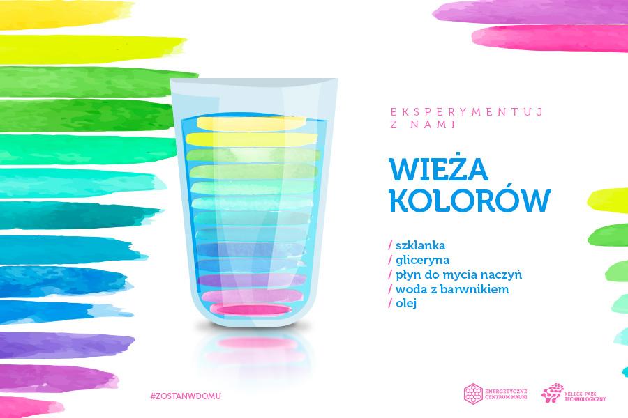 Wieża kolorów, składniki: szklanka, gliceryna, płyn do mycia naczyń, woda z barwnikiem, olej